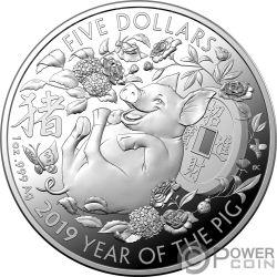 PIG Maiale Lunar Year 1 Oz Moneta Argento 5$ Australia 2019