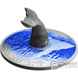 WHALES TAIL Soapstone Sculpture 5 Oz Silver Coin 50$ Canada 2018