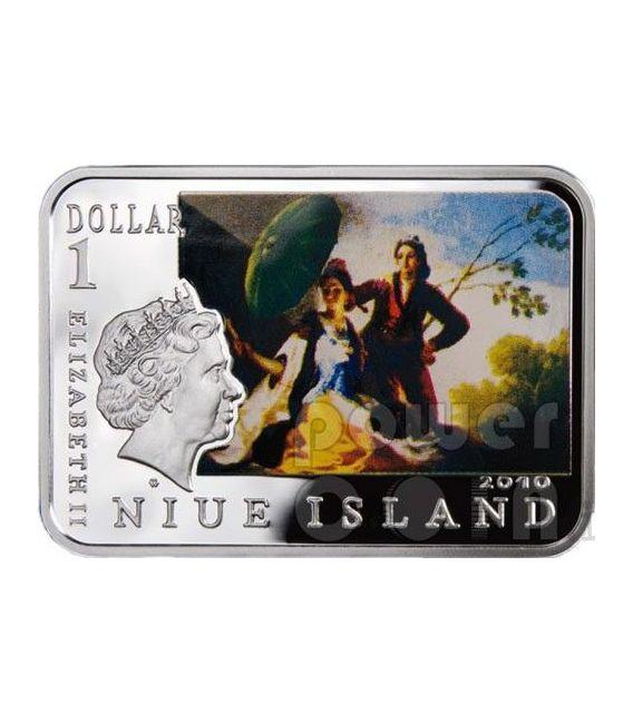 GOYA Francisco Clothed Maja Woman With Umbrella Silver Coin 1$ Niue 2010
