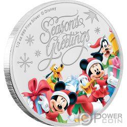 SEASONS GREETINGS Topolino Disney 1/2 Oz Moneta Argento 1$ Niue 2018