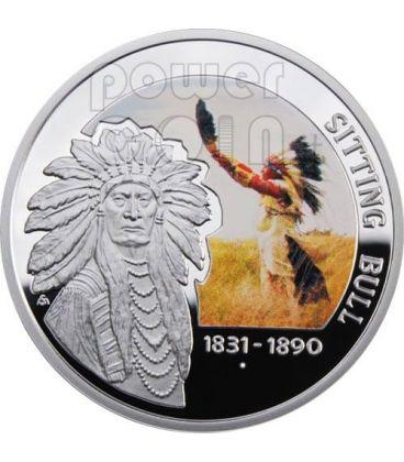 TORO SEDUTO Indiano Capo Dei Sioux Moneta Argento 1$ Niue 2010