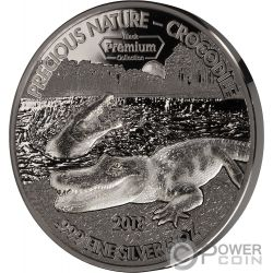 CROCODILE Precious Nature Palladium Rhodium 5 Oz Серебро Монета 5000 Франков Бенин 2018