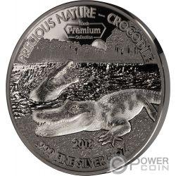 CROCODILE Precious Nature Palladium Rhodium 5 Oz Silver Coin 5000 Francs Benin 2018