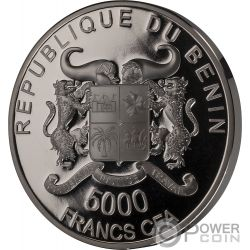 CROCODILE Cocodrilo Precious Nature Palladium Rhodium 5 Oz Moneda Plata 5000 Francos Benin 2018