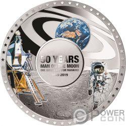 MOON LANDING 50th Anniversary Convex Silver Coin 5$ Solomon Islands 2019