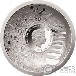 MOON LANDING 50th Anniversary Convex Серебро Монета 5$ Соломонские Острова 2019