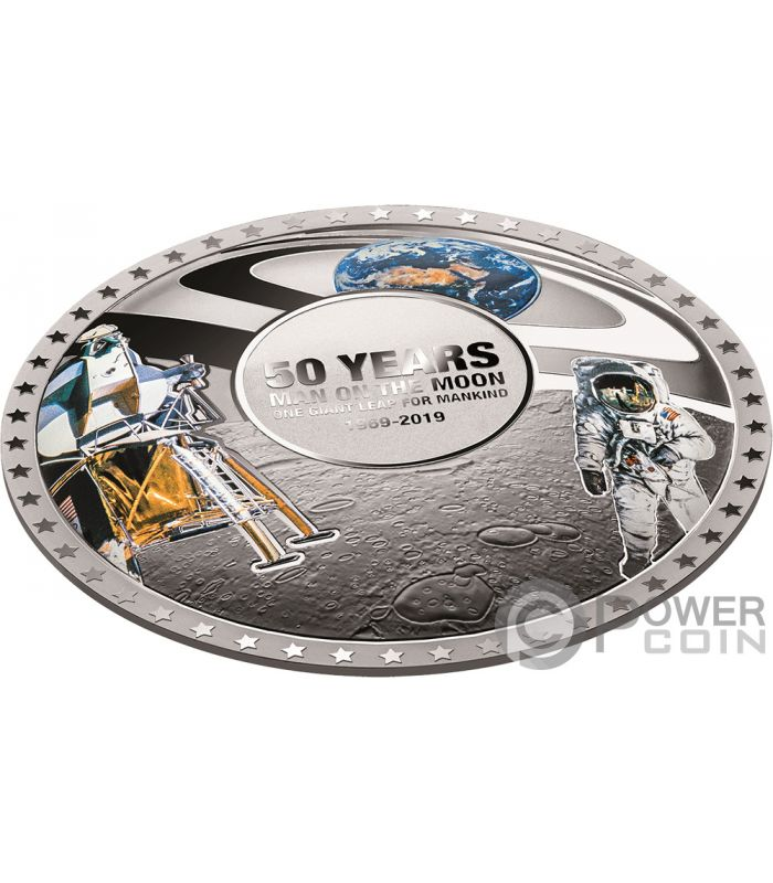 Moon Landing 50th Anniversary Convex Silver Coin 5