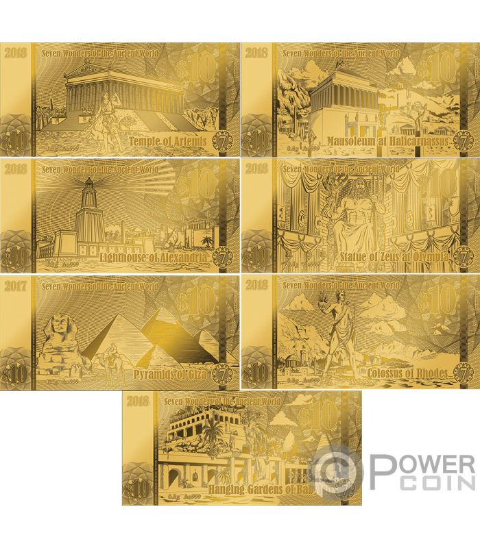 Seven Wonders Of The World Set 7 Foil Gold Notes 10