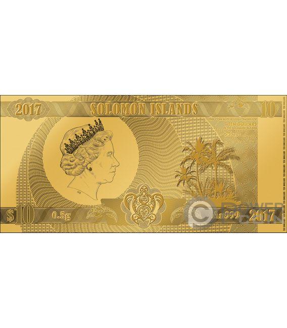 SEVEN WONDERS OF THE WORLD Set 7 Foil Gold Notes 10$ Solomon Islands 2017 2018