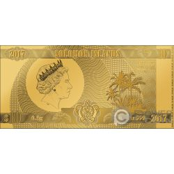 SEVEN WONDERS OF THE WORLD Set 7 Foil Gold Notes 10$ Solomon Islands 2017 2018