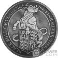 BLACK BULL Toro Queen Beasts Acabado Antiguo 2 Oz Moneda Plata 5£ United Kingdom 2018