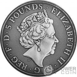 BLACK BULL Toro Queen Beasts Acabado Antiguo 2 Oz Moneda Plata 5£ United Kingdom 2018