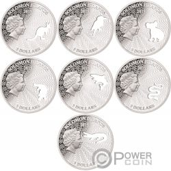 SHAPES OF AUSTRALIA Cutout Set 8x1 Oz Silver Coin 1$ Solomon Islands 2019
