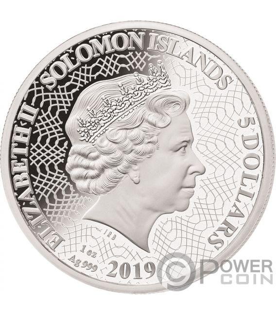 SHAPES OF AUSTRALIA Cutout Set 8x1 Oz Silver Coin 1$ Solomon Islands 2019