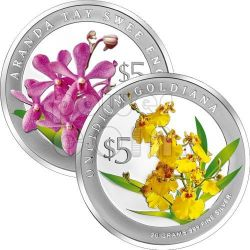ORCHIDS Heritage 2 Silver Proof Coin Set 5$ Singapore 2008