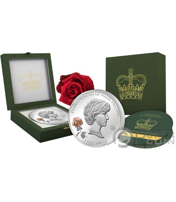 DIANA PRINCESS OF WALES 20th Anniversary 1 Kg Silver Coin 25$ Solomon Islands 2017