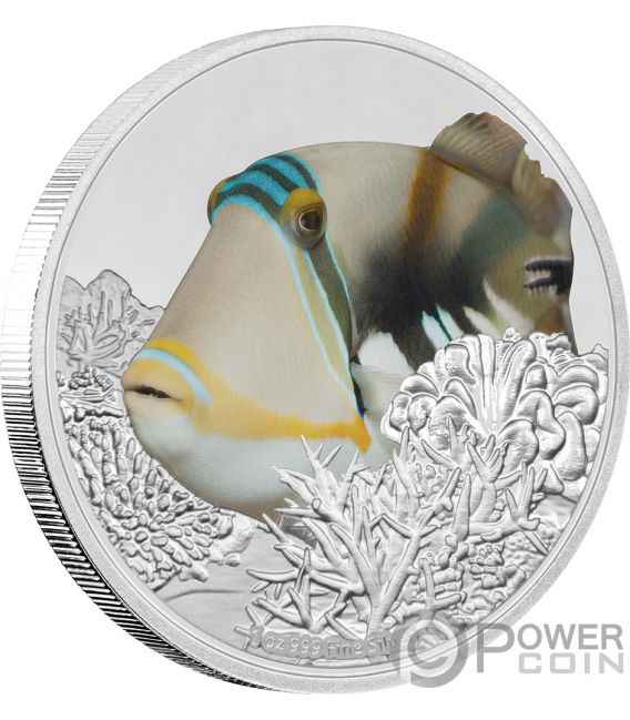 TRIGGERFISH Reef Fish 1 Oz Silver Coin 2$ Niue 2018