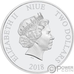 TRIGGERFISH Reef Fish 1 Oz Silver Coin 2$ Niue 2018