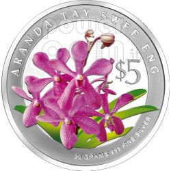 ORCHIDEE Set 2 Monete Argento Proof 5$ Singapore 2008