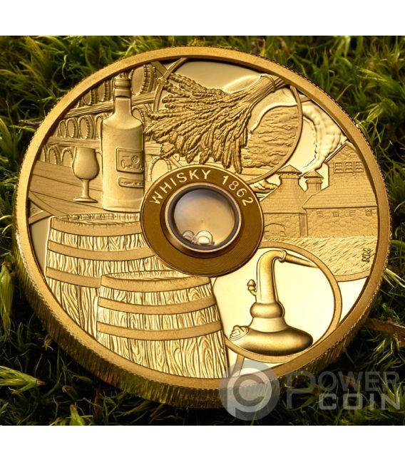 WHISKY Vatted Glenlivet 1862 Oldest Spirits 2 Oz Gold Coin 50$ Tuvalu 2018