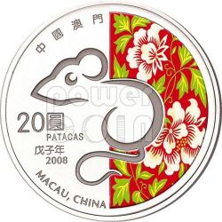 RAT Lunar Year 1 Oz Silber Proof Münze 20 Patacas Macau 2008