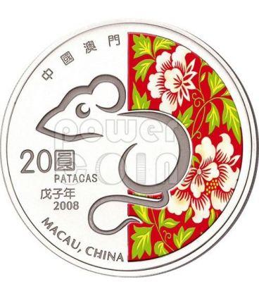 TOPO Rat Anno Lunare Zodiaco Cinese Moneta Argento 20 Patacas Macao 2008