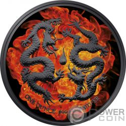 BURNING DOUBLE DRAGON Dos Dragones 1 Oz Moneda Plata 2$ Niue 2018