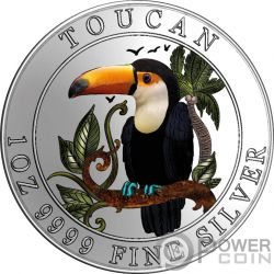 TOUCAN Tukan Colored 1 Oz Silber Münze 1$ Niue 2018
