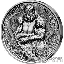 SILVERBACK GORILLA 1 Kg Kilo Серебро Монета 2000 Франков Джибути 2018