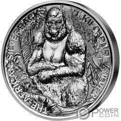 SILVERBACK GORILLA 1 Kg Kilo Silver Coin 2000 Francs Djibouti 2018