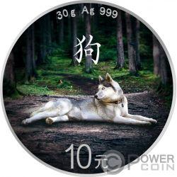 LUNAR DOG Perro Bandera Colorized Panda Moneda Plata 10 Yuan China 2018