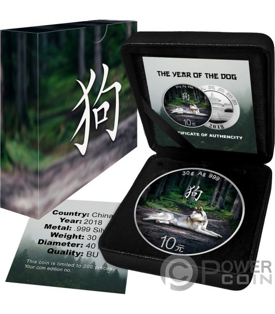 LUNAR DOG Hund Panda Colorized Silber Münze 10 Yuan China 2018