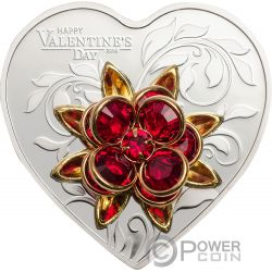 HAPPY VALENTINE DAY Swarovski Bouquet Heart Shaped Silver Coin 5$ Cook Islands 2019