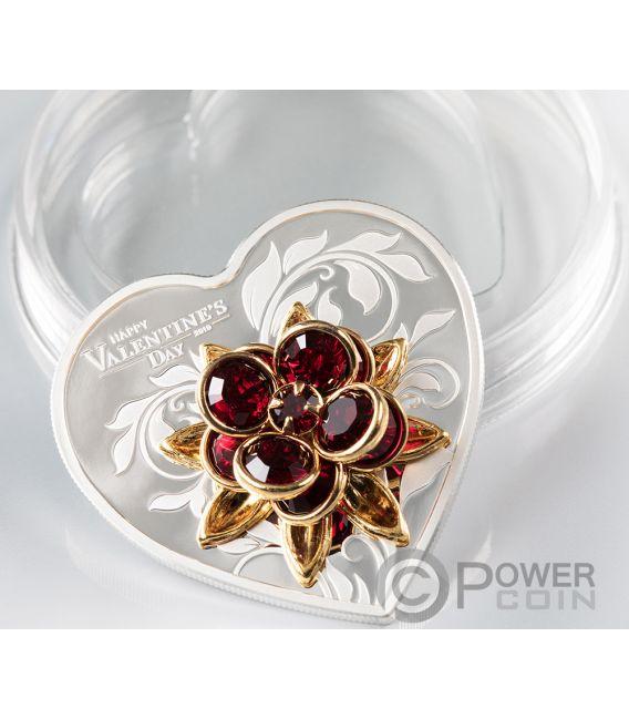 HAPPY VALENTINE DAY Swarovski Bouquet Heart Shaped Silver Coin 5$ Cook Islands 2019