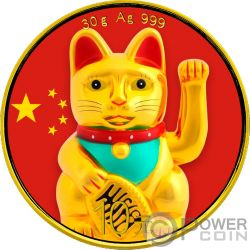 LUCKY CAT Katze Panda Colorized Silber Münze 10 Yuan China 2018