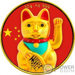 LUCKY CAT Panda Colorized Silver Coin 10 Yuan China 2018