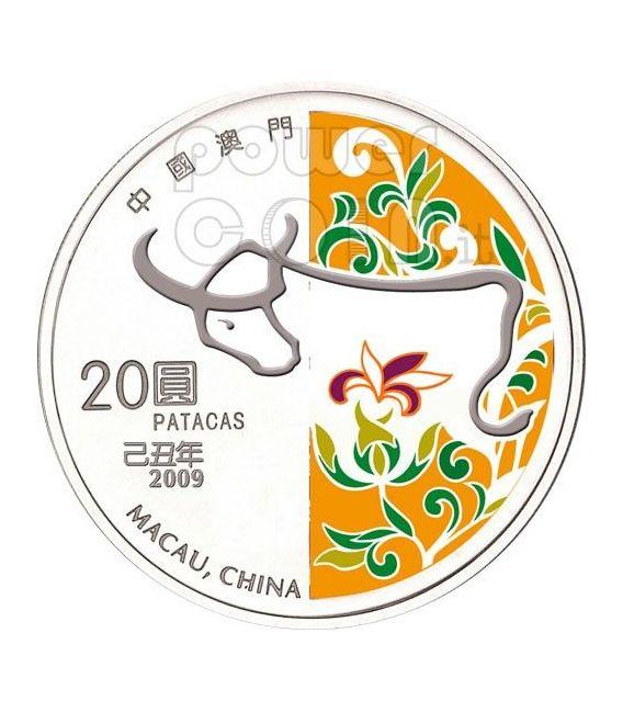 BUE Ox Anno Lunare Zodiaco Cinese Moneta Argento 20 Patacas Macao 2009