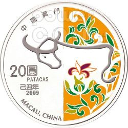OX Lunar Year 1 Oz Silber Proof Münze 20 Patacas Macau 2009