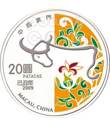 OX Lunar Year 1 Oz Silver Proof Coin 20 Patacas Macau 2009