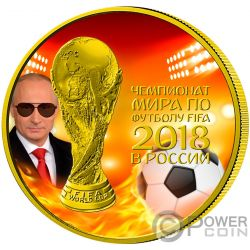 FIFA WORLD CUP President Putin Fire 1 Oz Silver Coin 3 Rubles Russia 2018