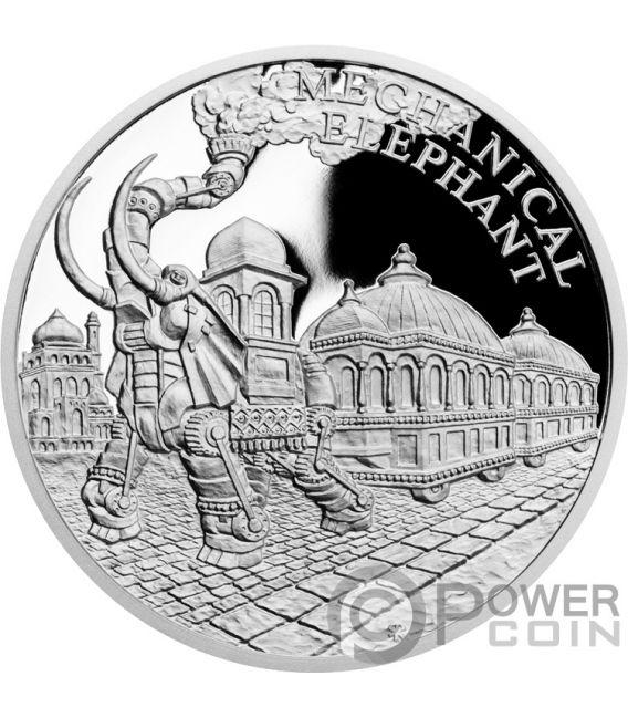 MECHANICAL ELEPHANT Fantastic World Jules Verne 1 Oz Moneda Plata 1$ Niue 2018