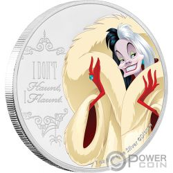 CRUELLA DE VIL Crudelia One Hundred Dalmatians Disney Villains 1 Oz Moneta Argento 2$ Niue 2018