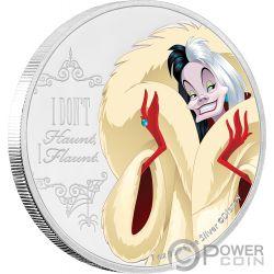 CRUELLA DE VIL One Hundred Dalmatians Disney Villains 1 Oz Moneda Plata 2$ Niue 2018