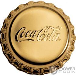 COCA COLA Forma Tapa Botella 1 Oz Moneda Oro 50$ Fiji 2018