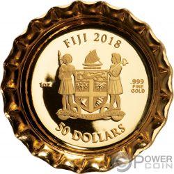COCA COLA Forma Tappo Bottiglia 1 Oz Moneta Oro 50$ Fiji 2018