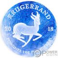 KRUGERRAND Ghiacciato Frozen 1 Oz Moneta Argento 1 Rand South Africa 2018