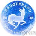 KRUGERRAND Ghiacciato Frozen 1 Oz Moneta Argento 1 Rand South Africa 2018