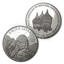 KWITA IZINA Mountain Gorillas Серебро Монета 100 Fr Руанда 2010