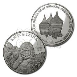 KWITA IZINA Mountain Gorillas Silver Coin 100 Fr Rwanda 2010