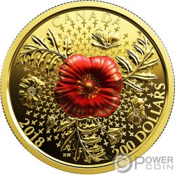 ARMISTICE POPPY Klatschmohn 1 Oz Gold Münze 200$ Canada 2018